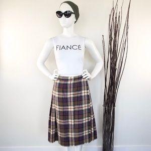 Tweeds & Tartans | Vintage Plaid Wool Kilt Skirt
